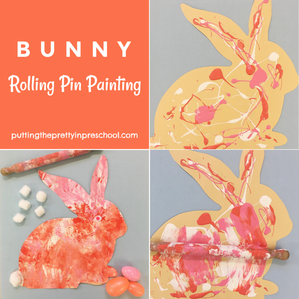 Steps to creating rolling pin bunny art.