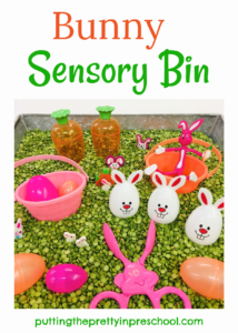 This naturally colored split-pea-based bunny sensory bin means no dyeing ingredients are needed.