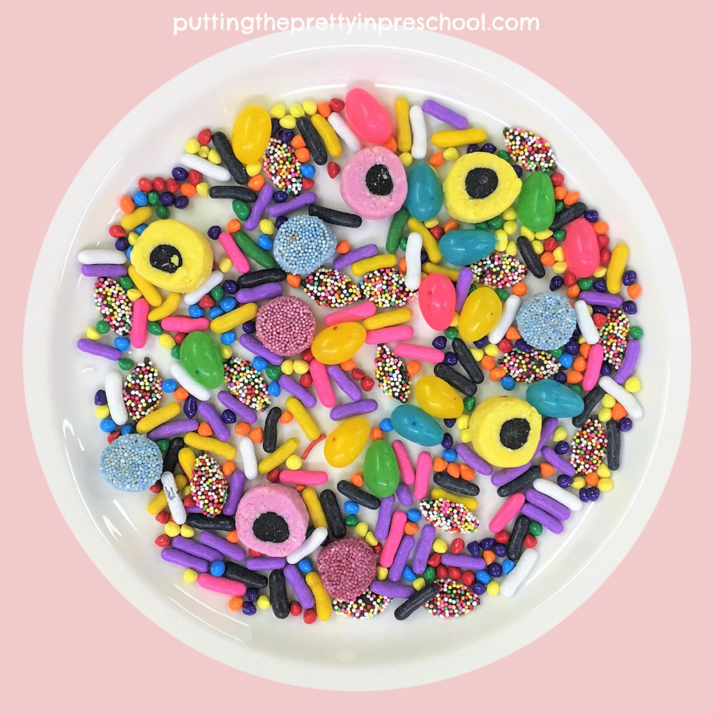 An assortment of candies for a colorful candy art project or a candy tasting activity.
