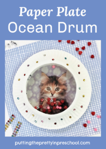 This DIY paper plate ocean drum can be personalized with a picture of your cherished pet.