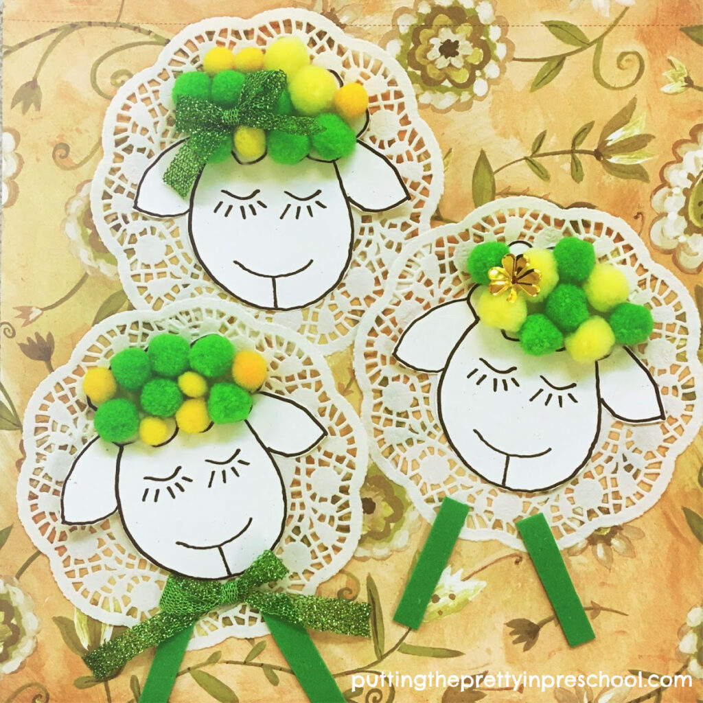 Sweet doily and pompom sheep craft perfect for St. Patrick's Day or spring.