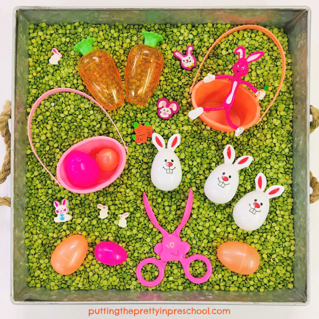 This naturally colored split-pea-based Easter bunny and egg sensory bin means no dyeing ingredients are needed.