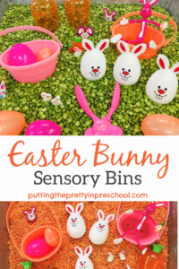 Fun Easter bunny sensory bins featuring two different brightly colored bases. The simple color change gives early learners variety in sensory play.