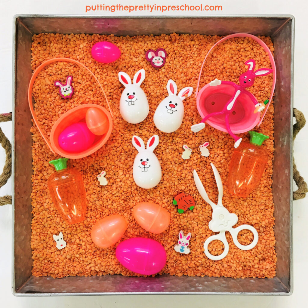 This naturally colored split-lentil-based Easter bunny sensory bin means no dyeing ingredients are needed