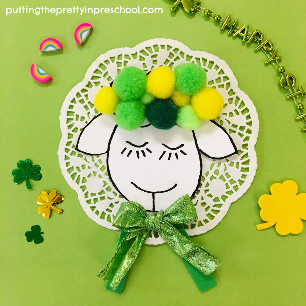 Sweet sheep craft perfect for St. Patrick's Day or spring.
