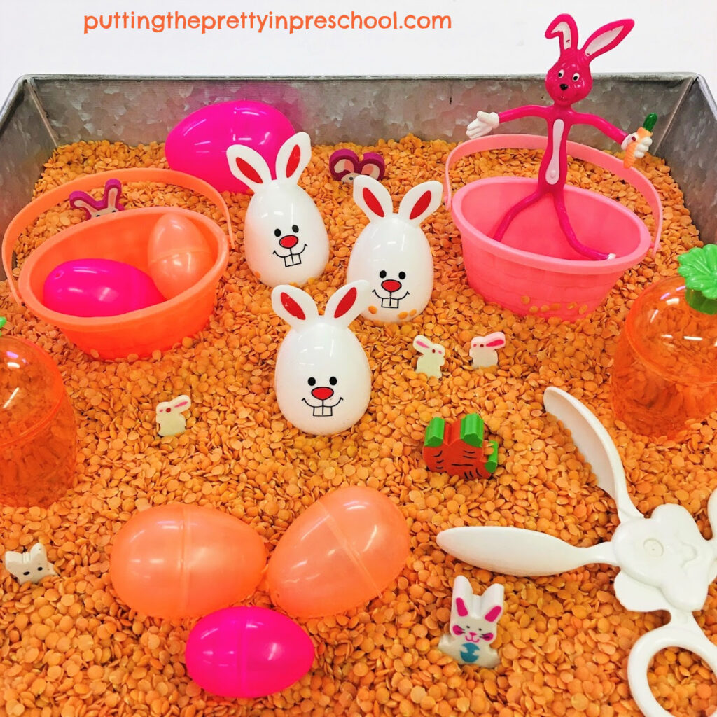 This naturally colored split-lentil-based bunny sensory bin means no dyeing ingredients are needed.
