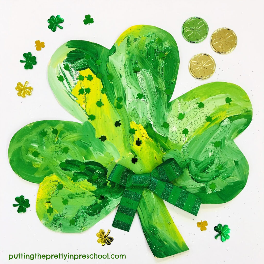 Painted shamrock art activity. An all-ages color mixing invitation.