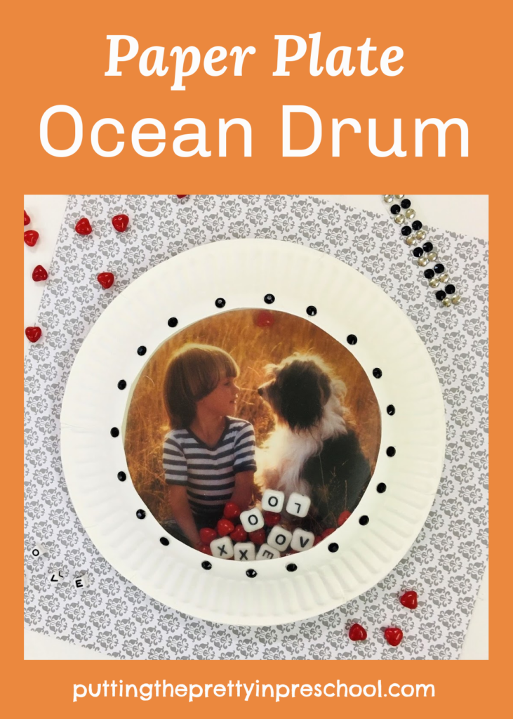 This DIY paper plate ocean drum can be personalized with a picture of a family member and/or pet.