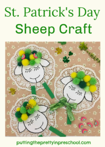Oh, so cute pompom and doily sheep craft for St. Patrick's Day or spring.