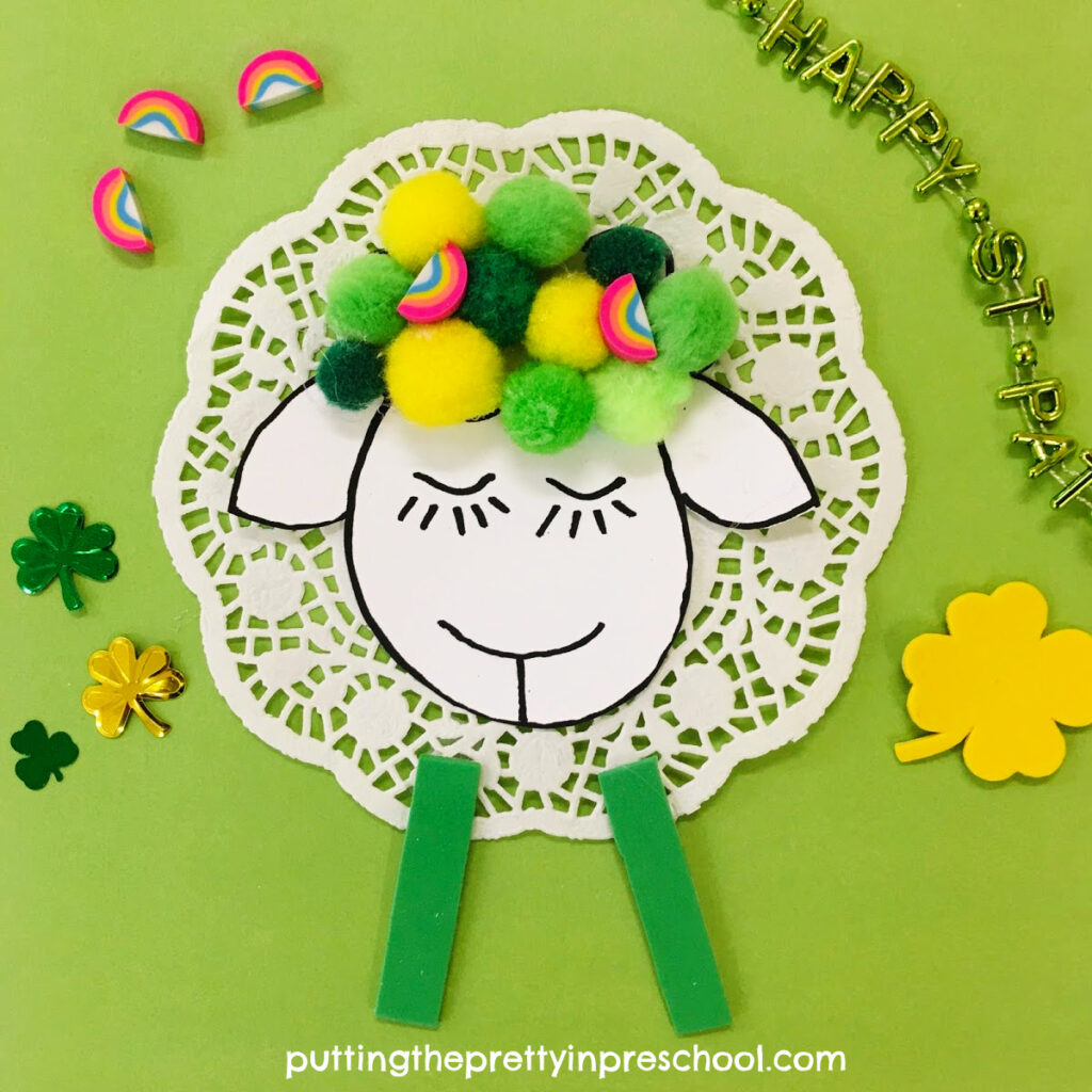 A pompom sheep craft perfect for St. Patrick's Day or spring.
