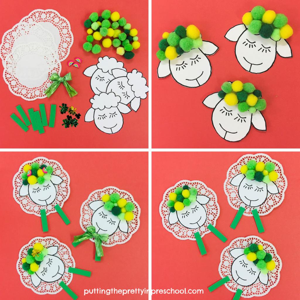 Craft steps to make pompom and doily St. Patrick's Day sheep.