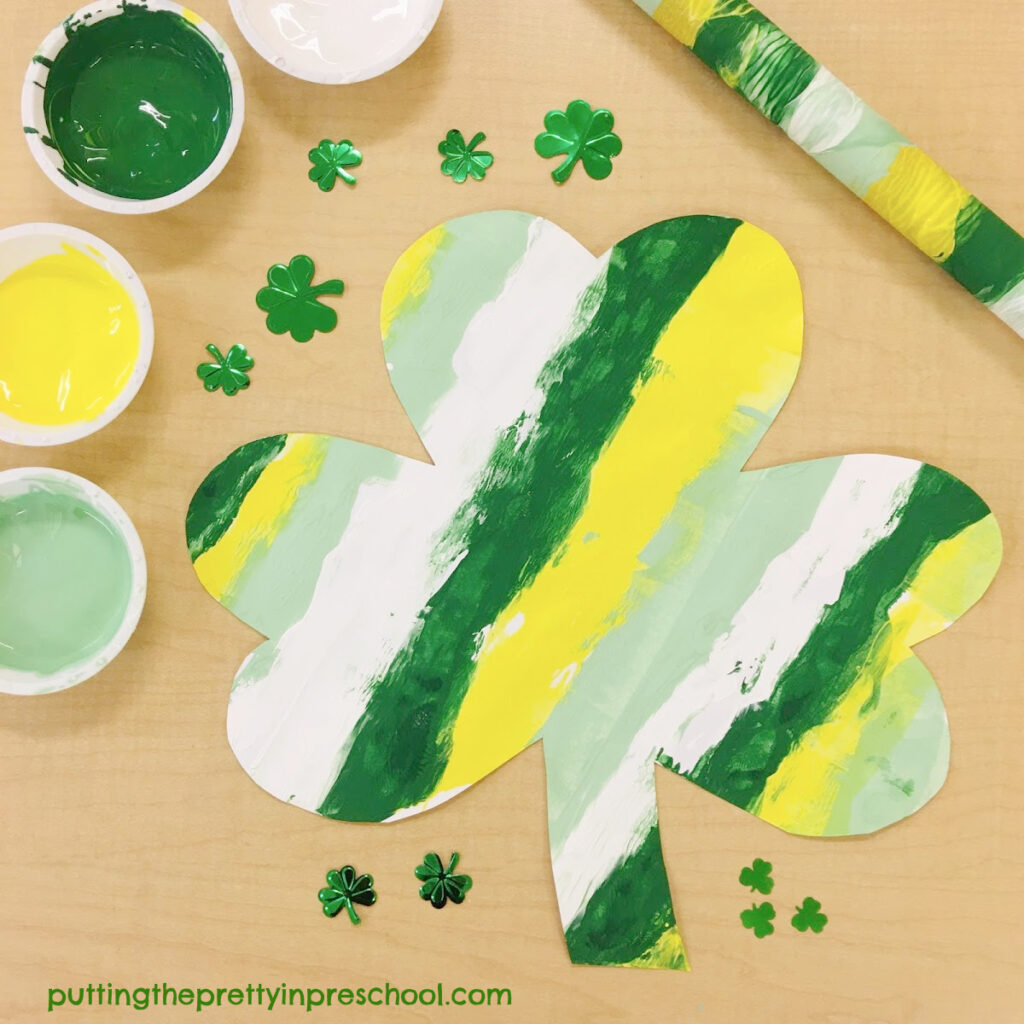 Rolling pin art on shamrock shapes.