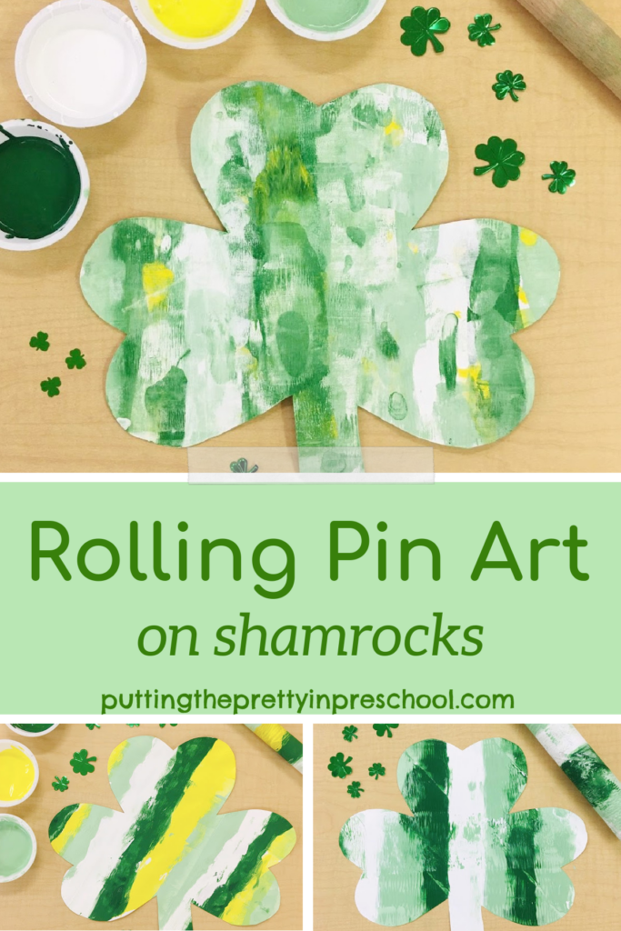 A fun rolling pin art project with three different looks. A process art painting activity on shamrocks the whole family can enjoy.