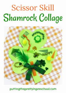 Scissor skill collage art activity, Invitation to cut textured craft supplies to decorate a shamrock.