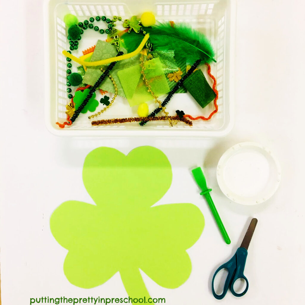 Invitation to cut and paste textured craft supplies to decorate a shamrock.