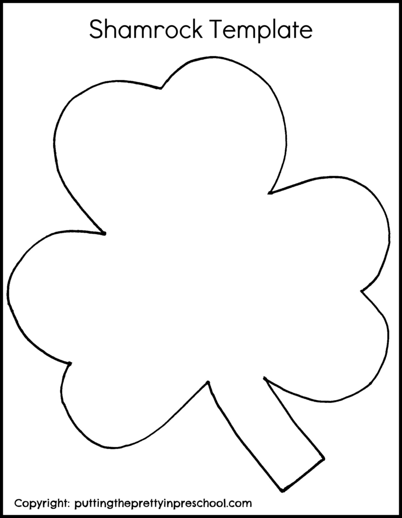 Shamrock template for a collage or painting activity.