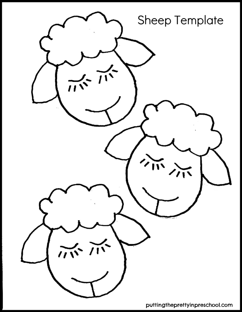Sheep template for a farm or St. Patrick's Day craft.