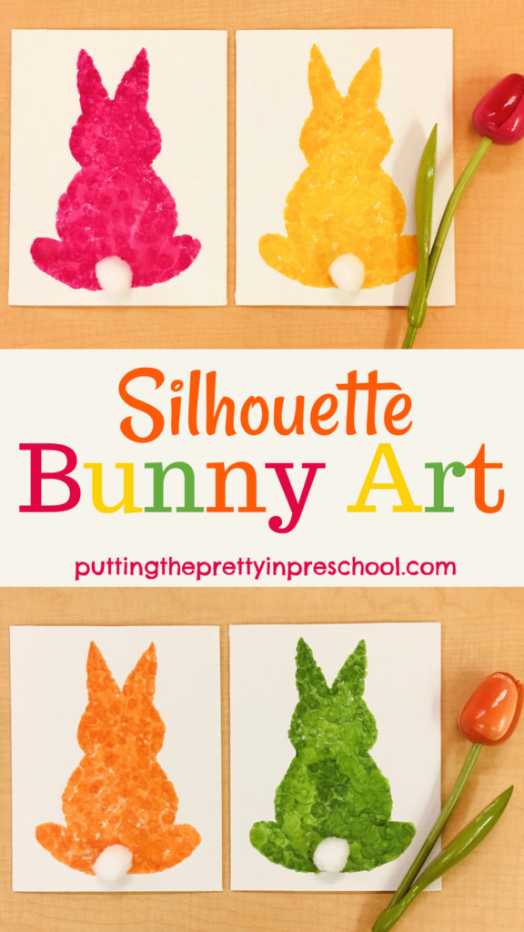 Colorful silhouette bunny art made by dabbing dot markers on a canvas. Free template included. An art project for the whole family. This quick and showy art project displays well.