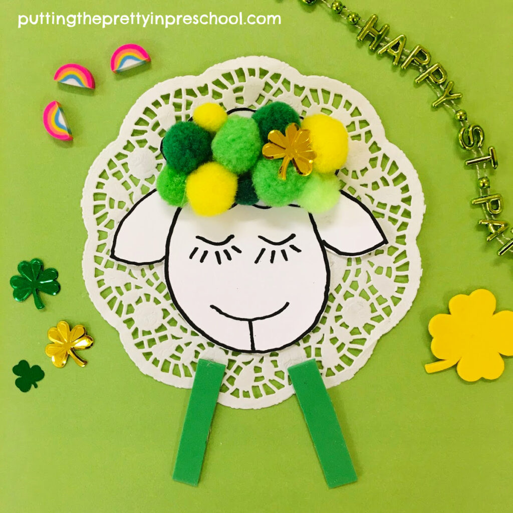 A cute sheep craft perfect for St. Patrick's Day or spring.