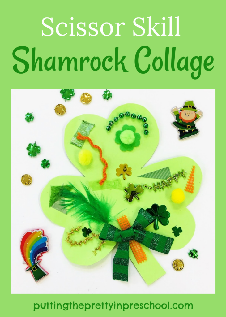 An invitation to cut textured craft supplies to decorate a shamrock.