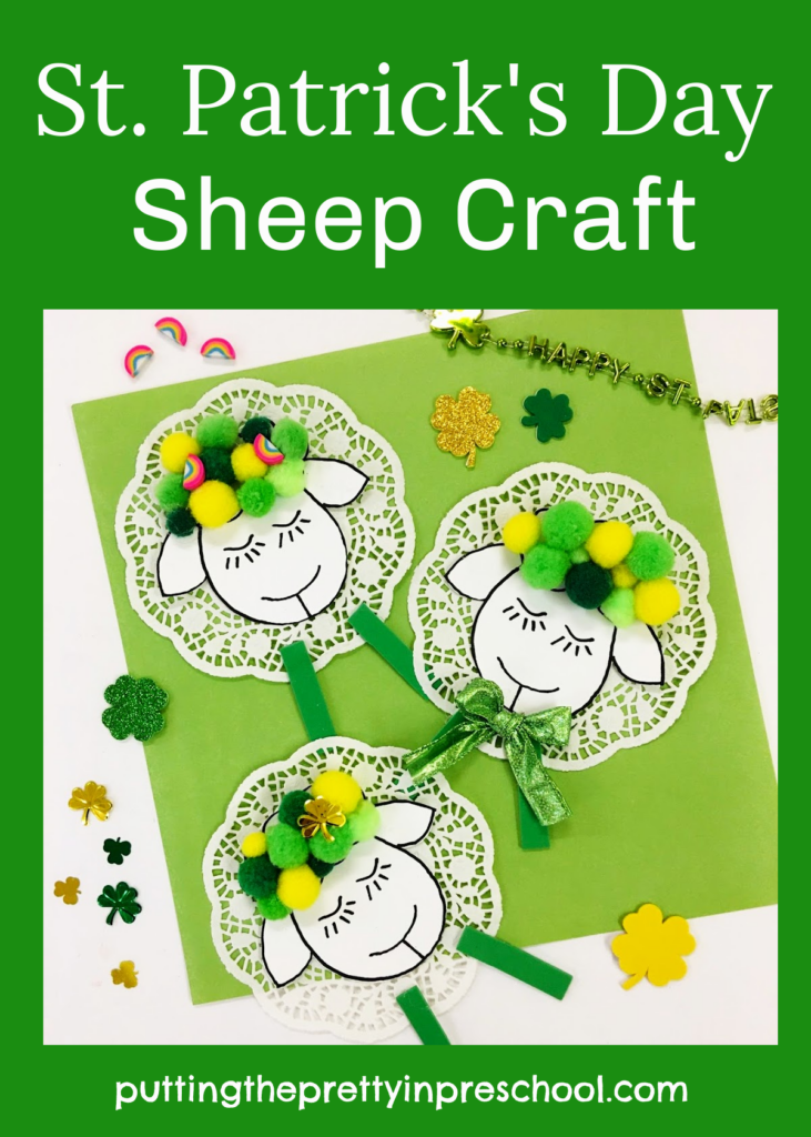 Dreamy St. Patrick's Day sheep craft with doily and pompom details. Free printable included