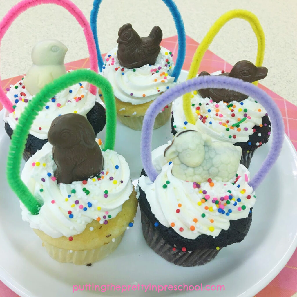 Delicious chocolate animal-topped Easter basket cupcakes.