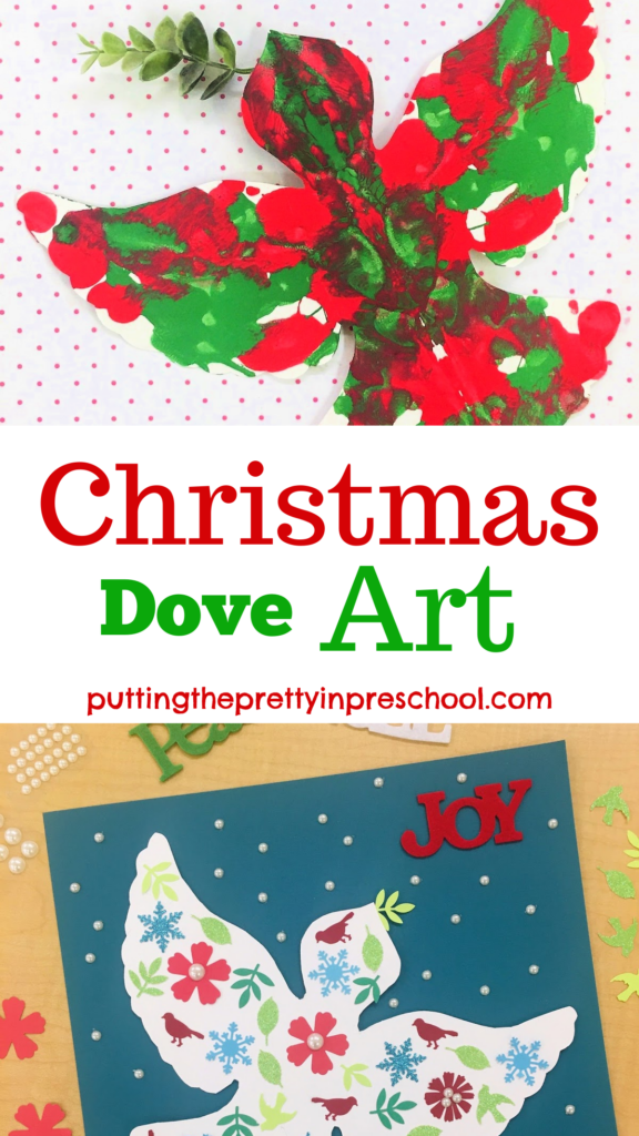 Beautiful squish painting and collage Christmas dove art projects suitable for all ages. Free dove template included.