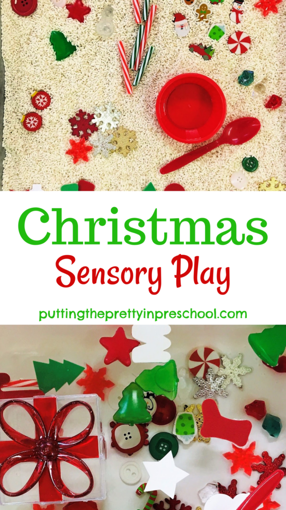 Christmas-themed sensory play with festive loose parts in a rice based tray and a water tub.