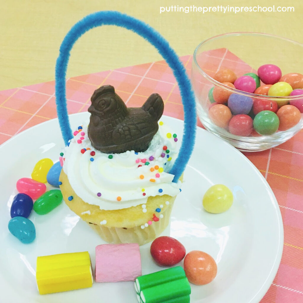 Tasty chocolate hen-topped spring basket cupcake.