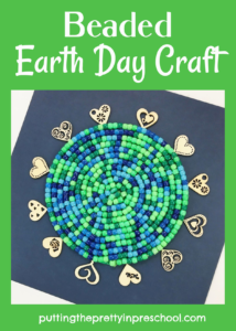 Easy to do, eye-catching earth day craft with green and blue pony beads. The activity works well as a classroom or family creative project.