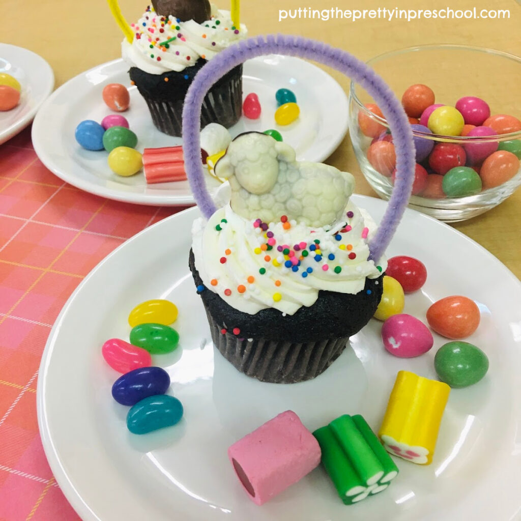 Adorable chocolate lamb-topped sping basket cupcake.