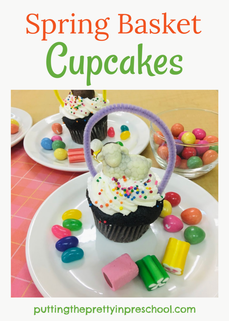 Adorable chocolate animal-topped spring basket cupcakes. Festive and fun party cupcakes that are easy to create and sure to please.