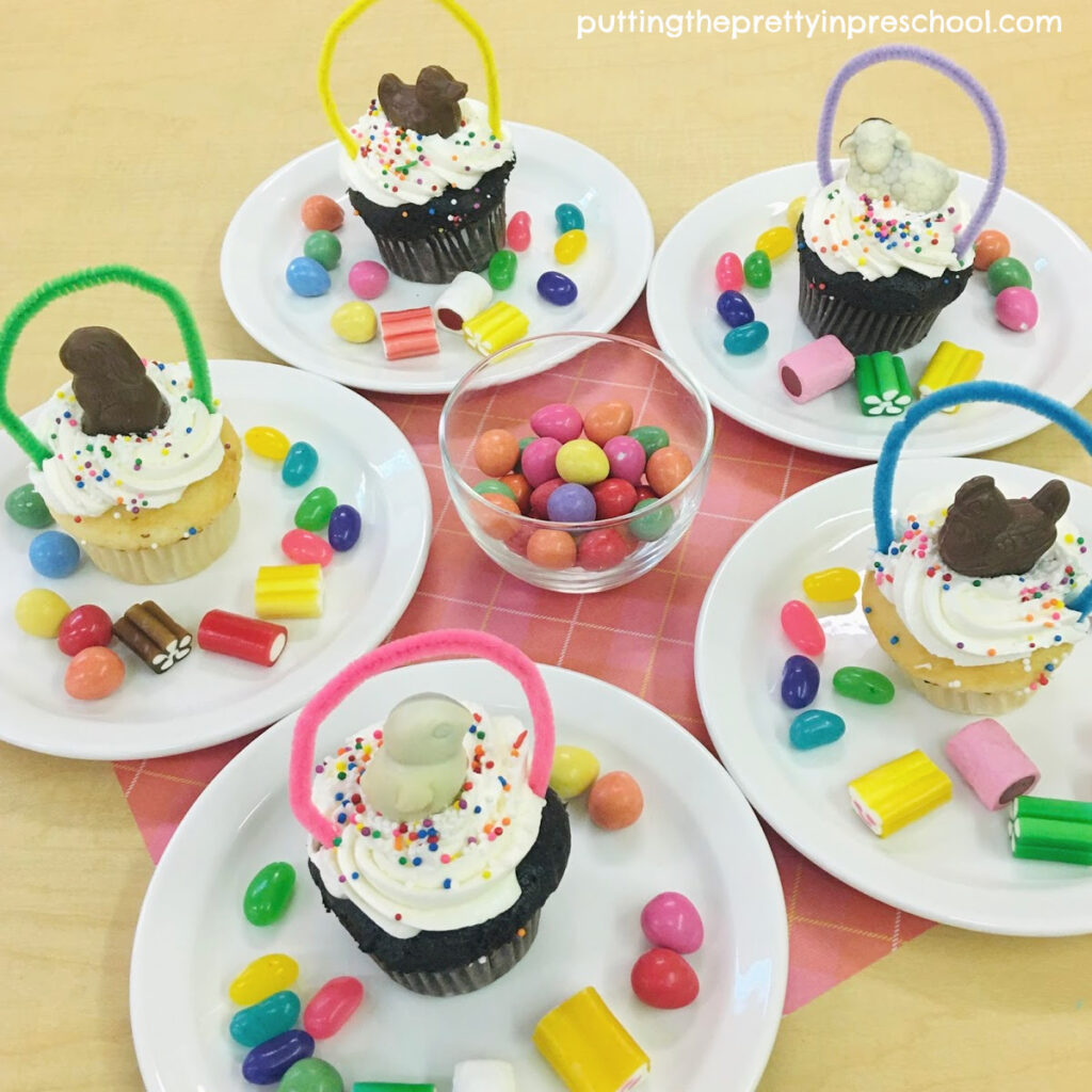 Delicious chocolate animal-topped spring basket cupcakes.