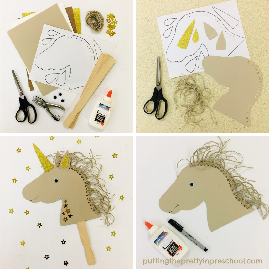 Steps to assemble an adorable unicorn puppet craft.