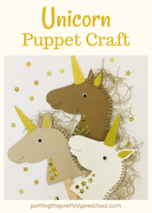 An easy-to-make neutral-toned paper unicorn craft. Free pattern to download. A craft project the whole family can do.