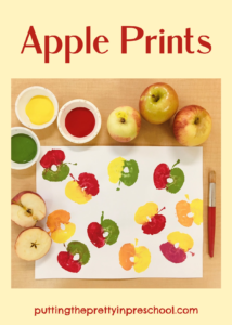 Apple print activities. Dip and paint apple halves and slices and press them onto art paper. Save some prints for fingerplays and counting.