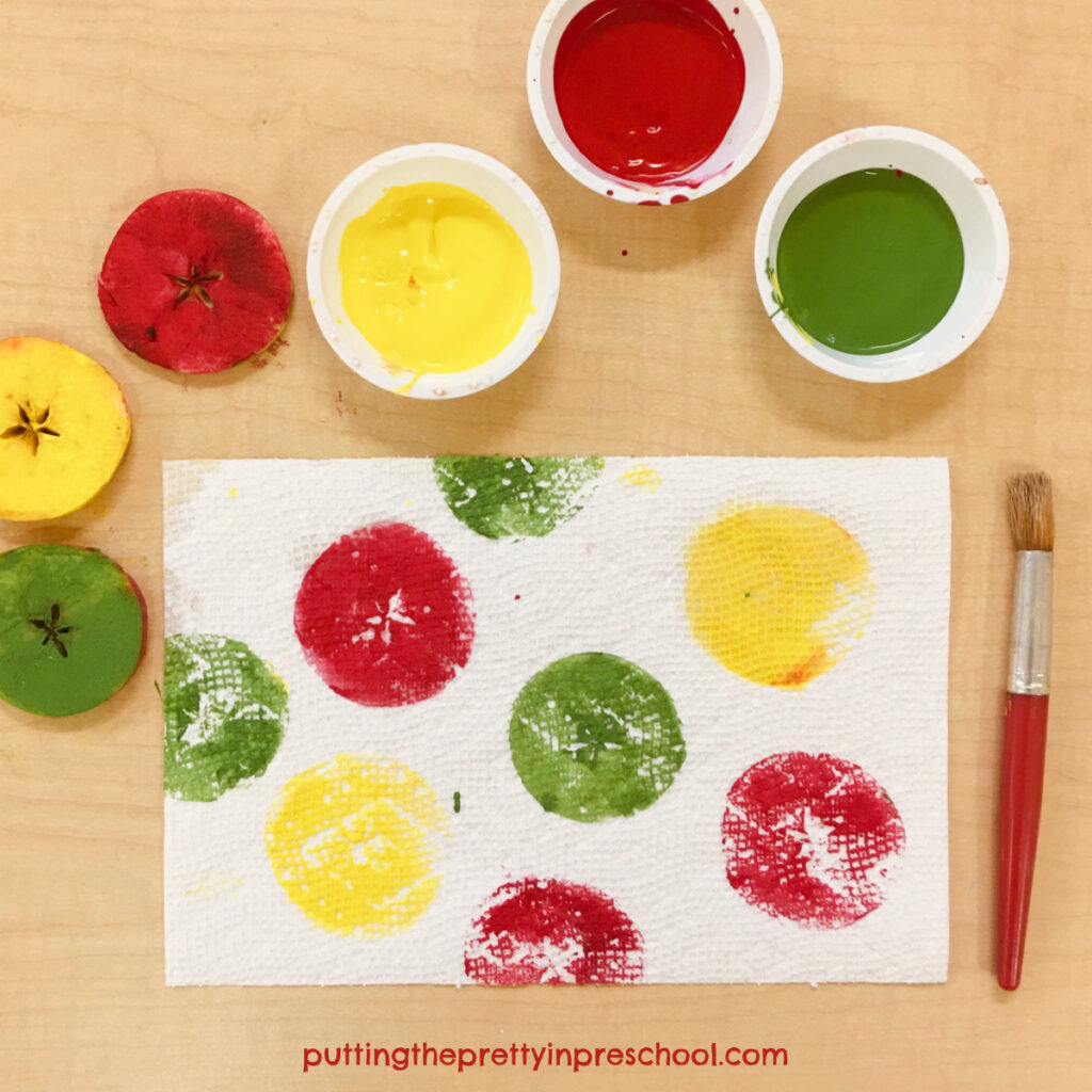 Printmaking using apple slices on a section of absorbant paper towel.
