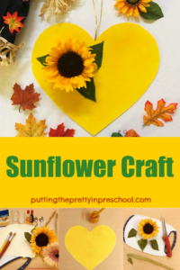 A sunflower heart craft that makes a perfect addition to fall decor.