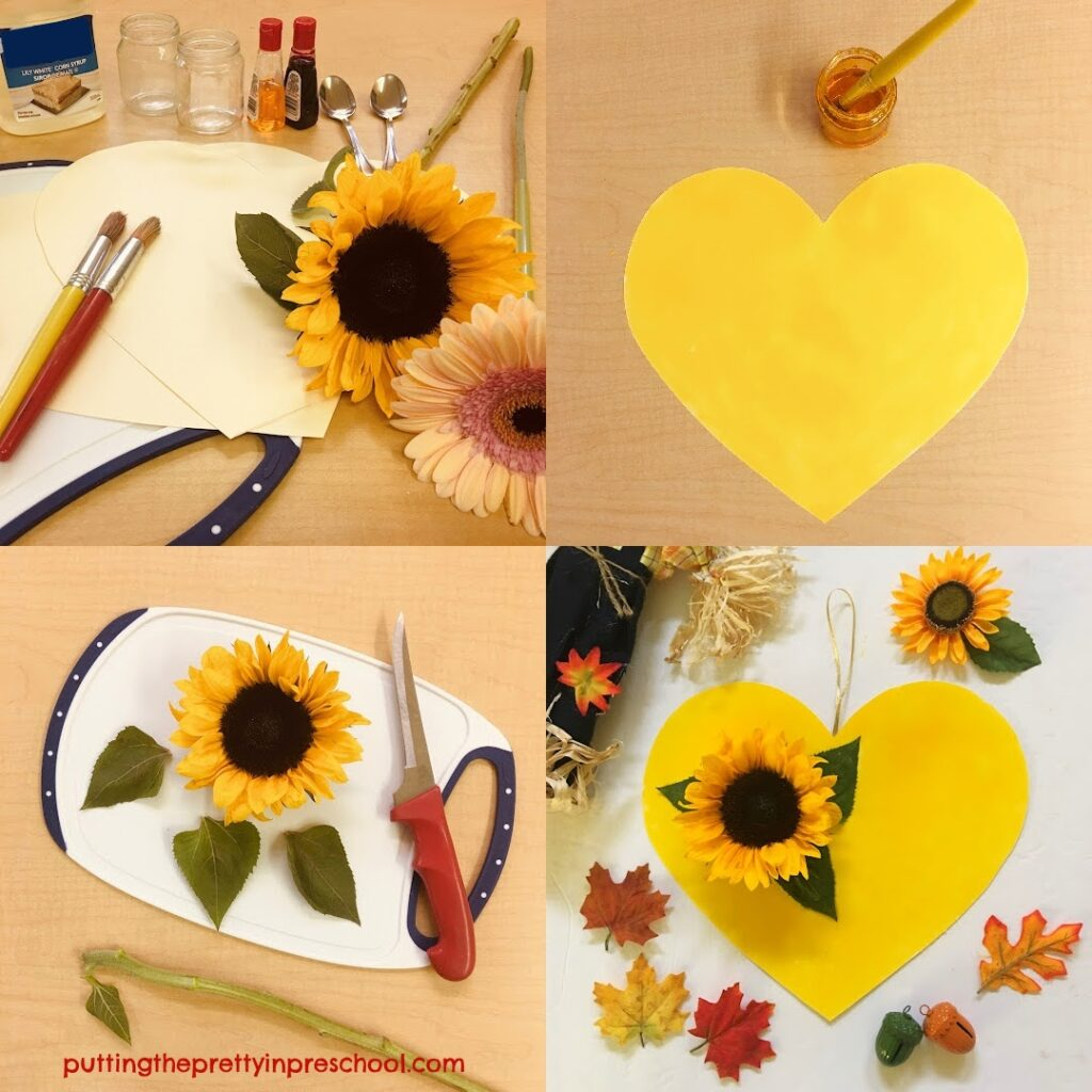 Steps to making a sunflower heart fall craft.