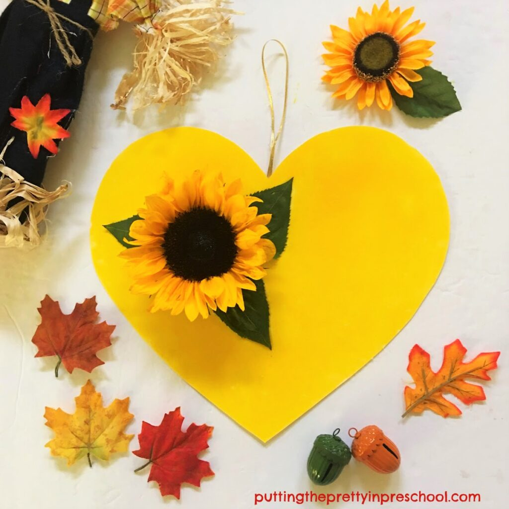 Oh so pretty sunflower heart craft that is easy for little learners to make.