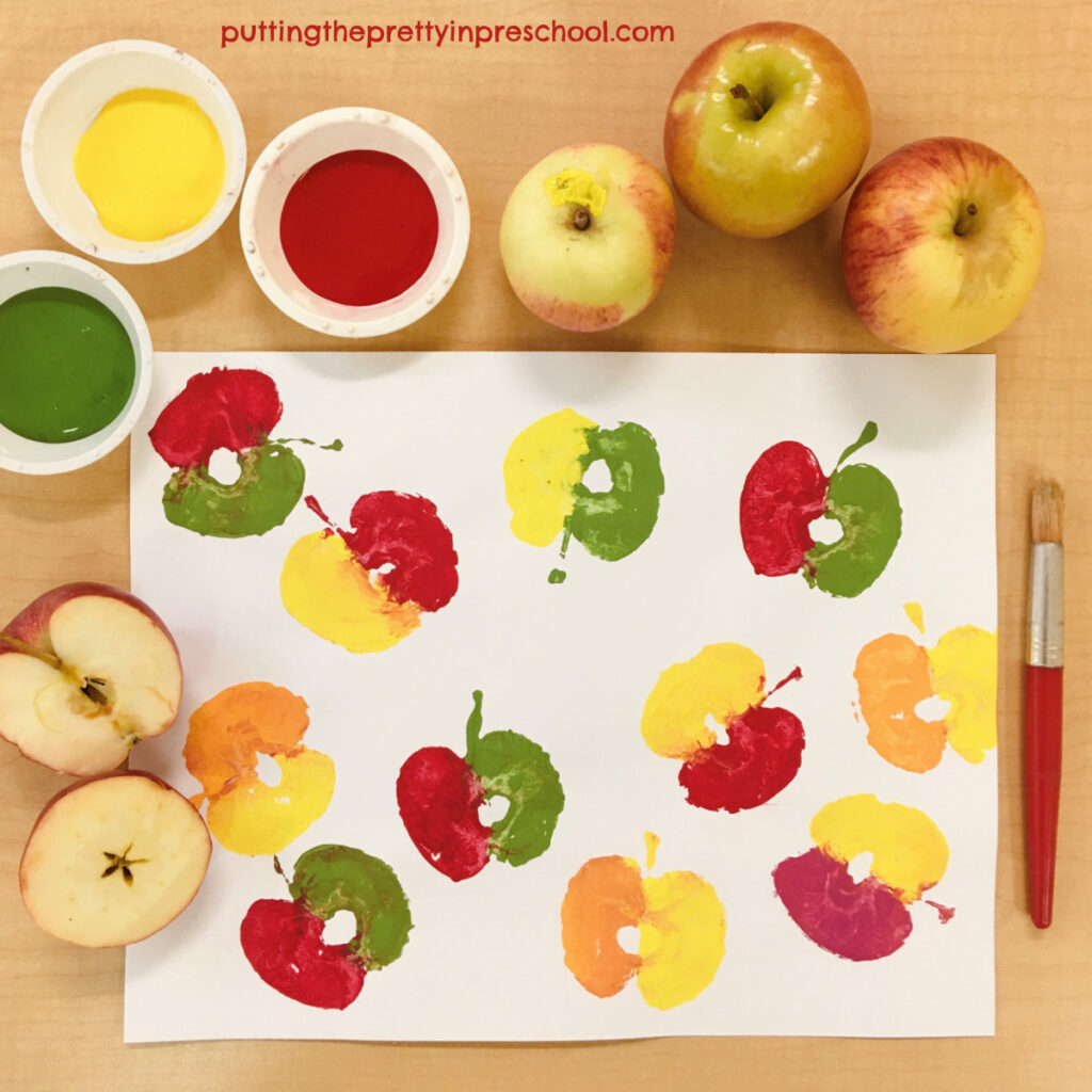 Add some fun by making apple prints in two different colors.